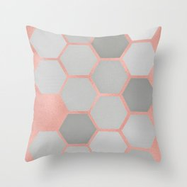 Honeycomb on Rose Gold Throw Pillow
