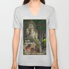 The Prince Looks down on Sleeping Beauty in the Garden of Delights by Kay Nielsen Unisex V-Neck