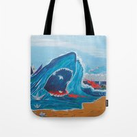 carnage Tote Bags featuring Simulating   a carnage by Lázaro Hurtado Art