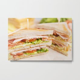 Club sandwich on a rustic table in bright light Metal Print
