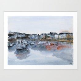 Rosmeur port watercolor painting Art Print