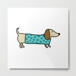 Cute dachshund in mint blue Metal Print