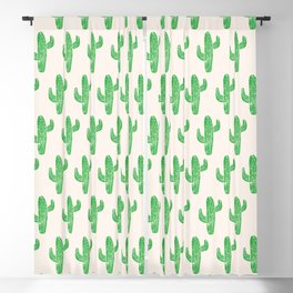 Linocut Cacti Green Blackout Curtain