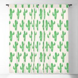 Linocut Cacti Green Blackout Curtain