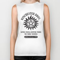 sam winchester Biker Tanks featuring SUPERNATURAL WINCHESTER BROTHERS DEAN AND SAM by thischarmingfan