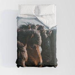 Horses in Iceland - Wildlife animals Comforters