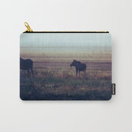 Cow and Calf Moose in Morning Mist, Delta Junction Alaska Carry-All Pouch