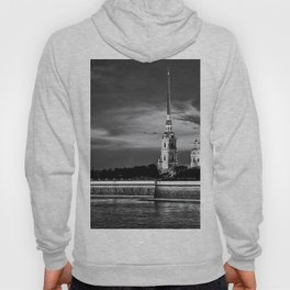 Peter And Paul Fortress at night, downtown, center of St. Petersburg, summer day, dramatic sky, clouds, river embankment, black and white (St. Petersburg, Russia) (2012-7SPBBW2) Hoody