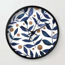 Watercolor berries and branches - indigo and beige Wall Clock