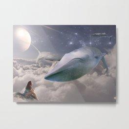 Space Whales Metal Print