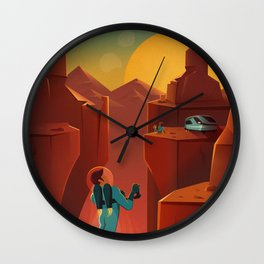 Vintage Adventure Travel Olympus Mons Awaits Wall Clock