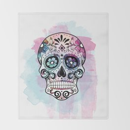 Watercolor Sugar Skull Throw Blanket