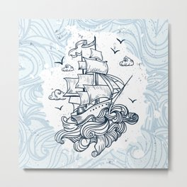 Hand drawn boat with waves background Metal Print