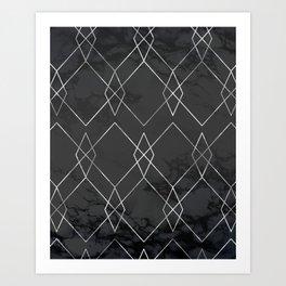 Silver Geometric on Black Marble Art Print