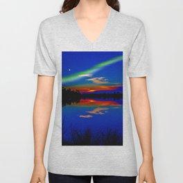 North light over a lake Unisex V-Neck