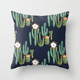 Dark Cactus Desert Throw Pillow