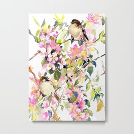 Apple Blossom and Two Sparrows Metal Print