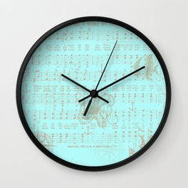 Vintage aqua brown nautical classic music sheet Wall Clock
