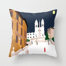 Spanish Steps in Snowy Rome Throw Pillow