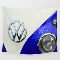 vw bus Wall Tapestries featuring VW Split Screen Navy by Alice Gosling