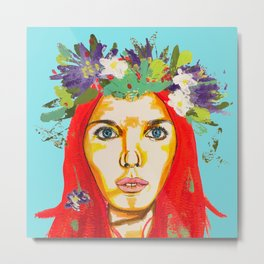 Red haired girl with flowers in her hair Metal Print