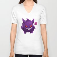 gengar V-neck T-shirts featuring Gengar by bonniviwii