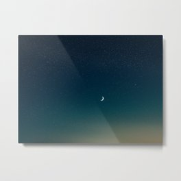 Turquoise Night Star Sky With Moon Astronomy Photography Metal Print