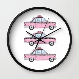 Pink Taxis Wall Clock