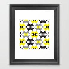 Yellow, gray & black geometric pattern Framed Art Print