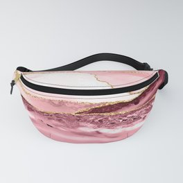 Pink And Gold Marble Waves Fanny Pack