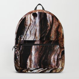 Ancient olive tree wood close-up Backpack