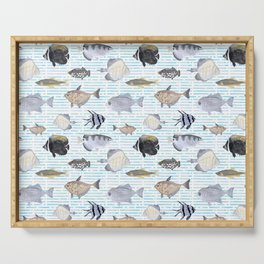 Fish Pattern - Cool Seacoast Watercolor Serving Tray