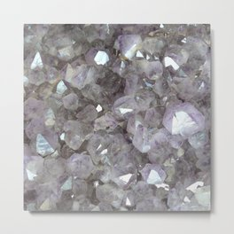 Sparkling Clear Light Purple Amethyst Crystal Stone Metal Print