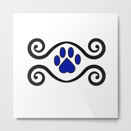 Dog Paws and Swirls Metal Print