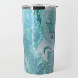 North Shore Swirls - Marble Fluid Abstract Blue Turquoise Art Travel Mug