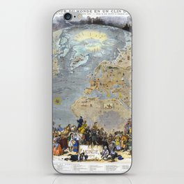 World map wall art 1876 dorm decor mappemonde of costumes and uniforms iPhone Skin
