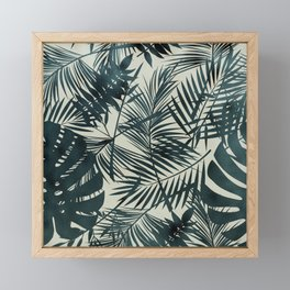 Dark Green Tropical Leaves Framed Mini Art Print