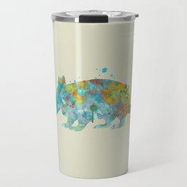 Armadillo Watercolor Painting Turquoise Aqua Mint Yellow Orange Travel Mug