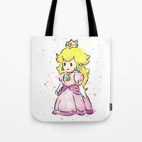 princess peach Tote Bags featuring Princess Peach by Olechka