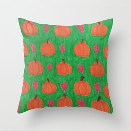Green Pumpkin Patch Throw Pillow