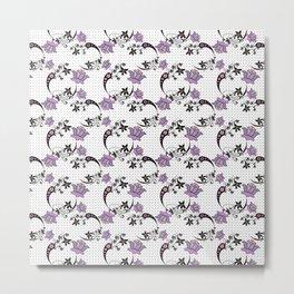 Floral pattern on black mesh . Metal Print