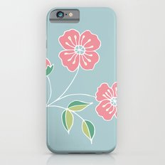 Pink floral placement on blue iPhone 6s Slim Case
