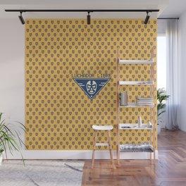 Luchador Libre Pattern Logo - Blue on Yellow Wall Mural
