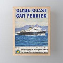 Vintage Placard Glyde Coast Car Ferrys Framed Mini Art Print