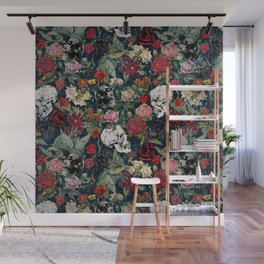 Distressed Floral with Skulls Pattern Wall Mural