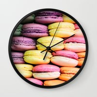 macaroons Wall Clocks featuring Macaroons by lescapricesdefilles