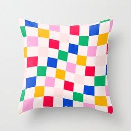 Summer Wavy Pop Checkers Throw Pillow