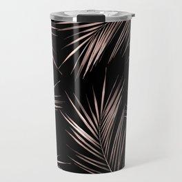 Rosegold Palm Tree Leaves on Midnight Black Travel Mug
