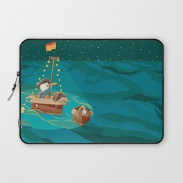 A boy, a box and two bassets hounds_Water Laptop Sleeve