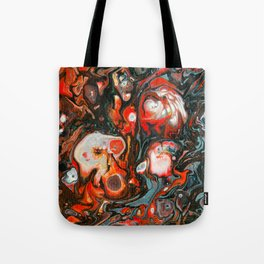 Fluid Art Acrylic Painting, Pour 22, Red, Gray, Black, & White Blended Color Tote Bag